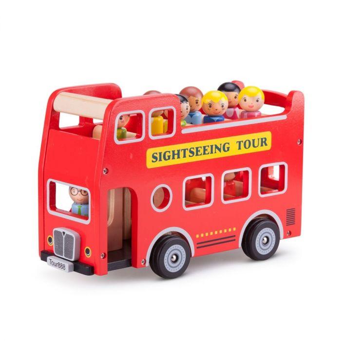 Autobuz turistic New Classic Toys, cu 9 figurine, 18 luni+
