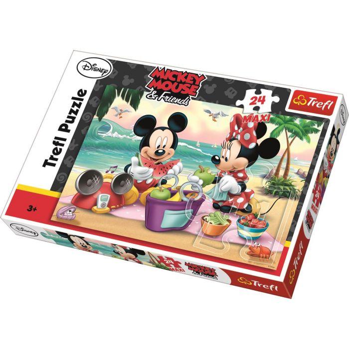 Puzzle Picnic pe plaja cu Mickey si Minnie 24 piese maxi Trefl