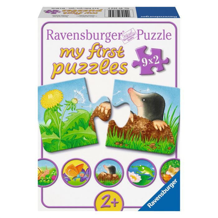 Puzzle pentru copii cu animale de gradina 9 x 2 piese Ravensburger