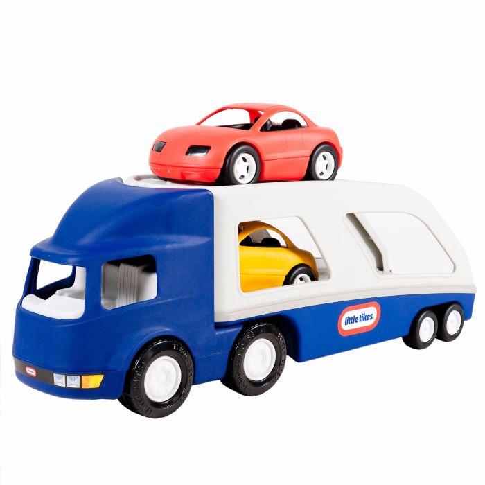 transportor camion masini curse albastru jucarie