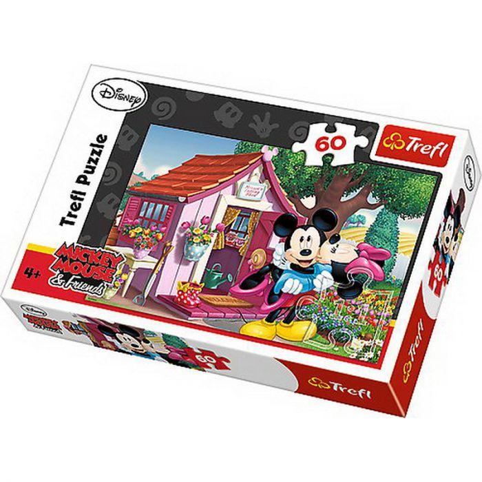 Puzzle Mickey si Minnie in gradina 60 piese Trefl