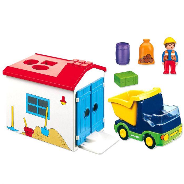 Figurina si camion cu garaj Playmobil