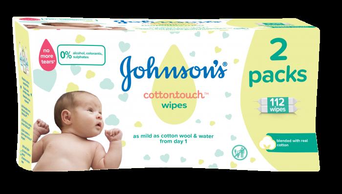 Servetele umede Johnson's Baby Cotton Touch, 2 pachete, 112 buc