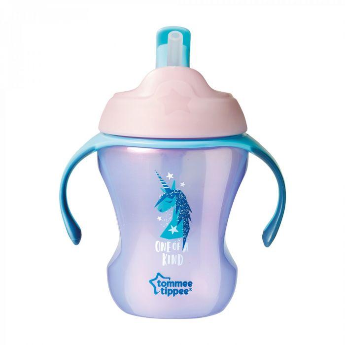 Cana Explora Easy Drink Unicorn Tommee Tippee, cu pai, mov, 230 ml, 6 luni+