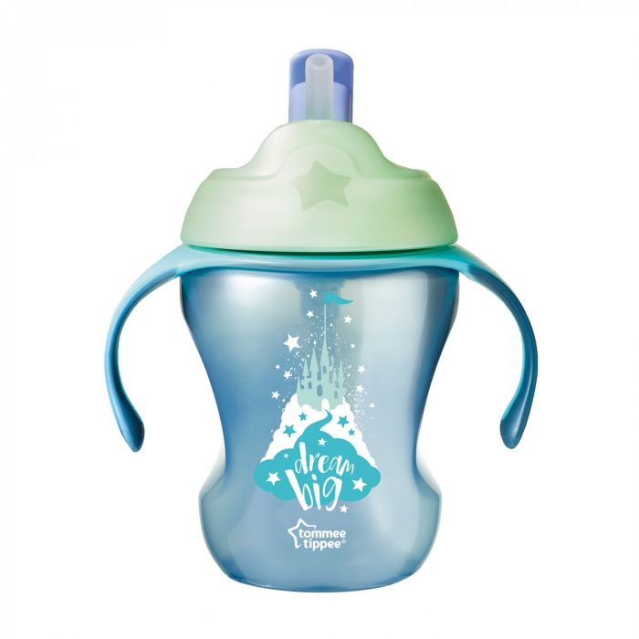 Cana Explora Easy Drink Castel Tommee Tippee, cu pai, albastru, 230 ml, 6 luni+