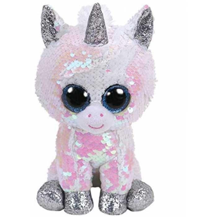 Plus Boos, Unicorn Alb Cu Paiete TY, 24 cm, 3 ani+