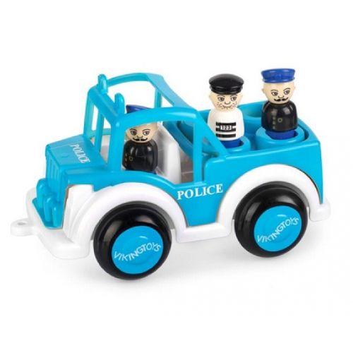 Masina Politie Jumbo VikingToys, cu 3 figurine, 12 luni+
