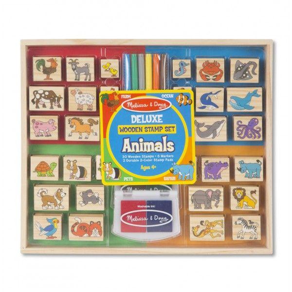 Set stampile Animale Deluxe Melissa & Doug, din lemn, 3 ani+