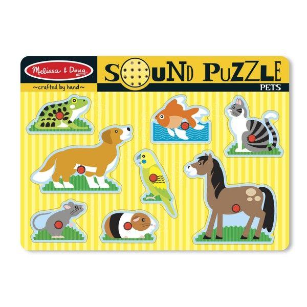Puzzle cu sunete Animale de companie Melissa & Doug, din lemn, 24 luni+