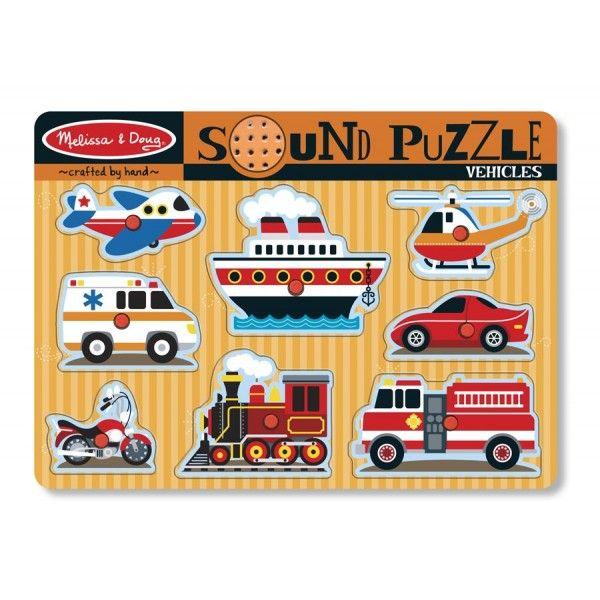 Puzzle cu sunete Vehicule Melissa & Doug, 24 luni+