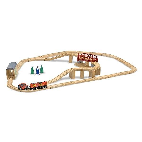 Set Trenulet cu pod pivotant Melissa & Doug, din lemn, 3 ani+