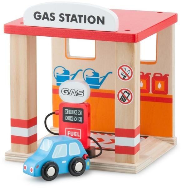Benzinarie cu masina New Classic Toys, din lemn, 36 luni+