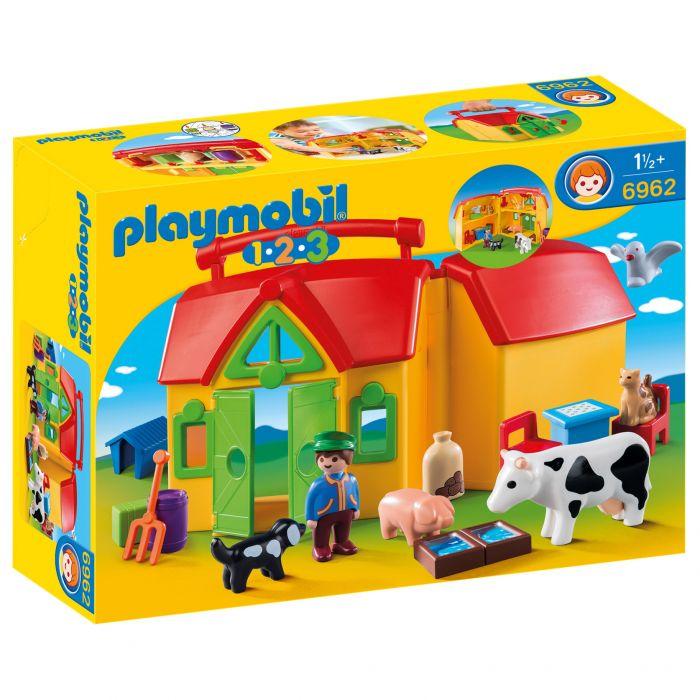 set figurine casuta portabila ferma animale jucarie playmobil