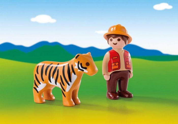Ingrijitor zoo cu tigru 1.2.3 Playmobil, 18 luni+