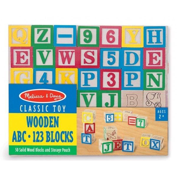 Cuburi litere si numere Melissa & Doug, din lemn, 50 buc, 36 luni+