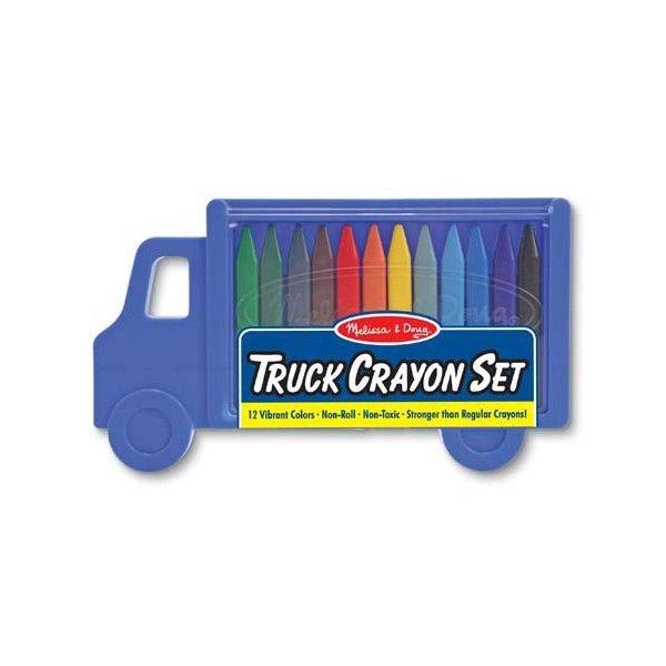 Set creioane colorate triunghiulare Truck Melissa & Doug, 12 buc, 3 ani+