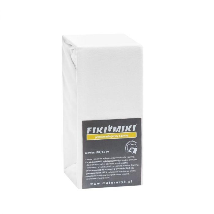 Cearsaf cu elastic Fiki Miki, jerse bumbac, 120x60 cm, alb