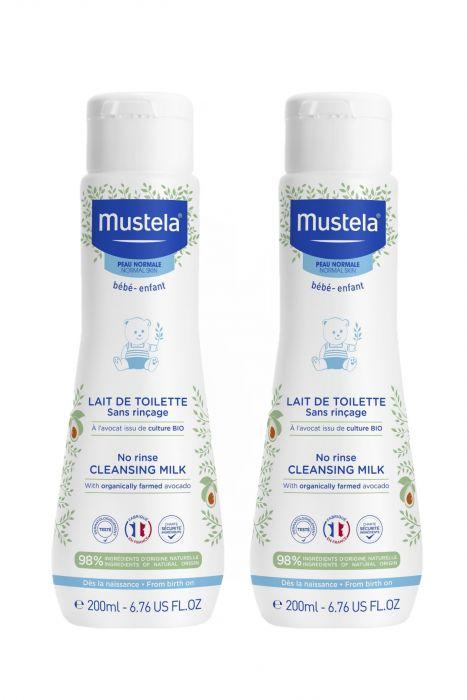 Pachet Lapte de curatare fara clatire Mustela, piele normala, 200 ml 1+1 Gratis