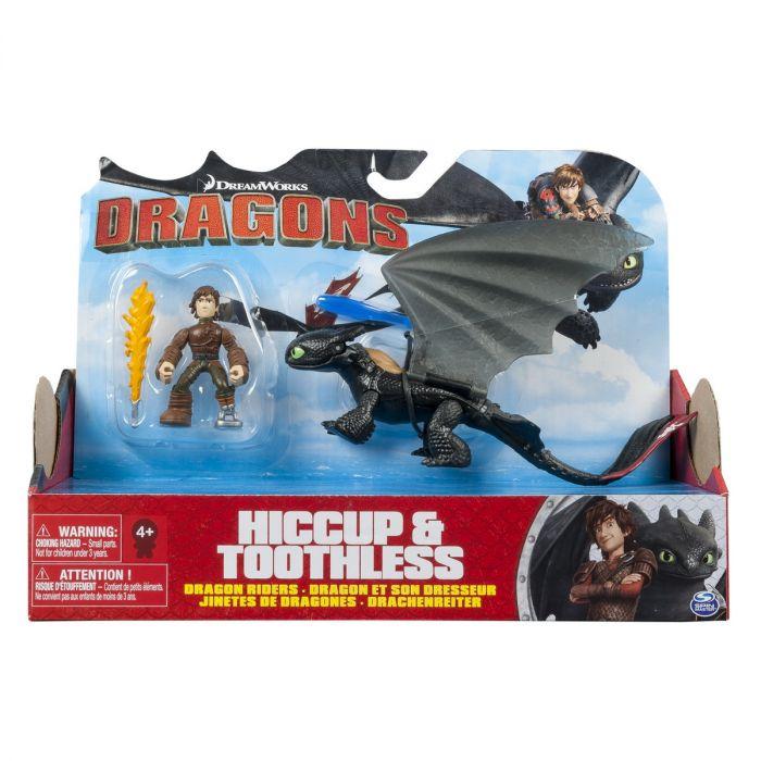 Figurina Dragon cu Calaret Stirbul si Hiccup Spin Master, 4 ani+