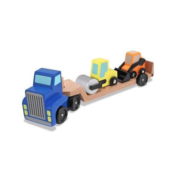 Camion transportor utilaje de constructii Melissa & Doug, din lemn, 3 ani+