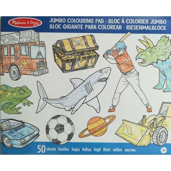 Caiet de colorat jumbo Melissa & Doug,  Albastru, 3 ani+