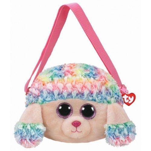 Gentuta De Mana Din Plus, Rainbow Pudel Roz TY, 10 cm, 3 ani+