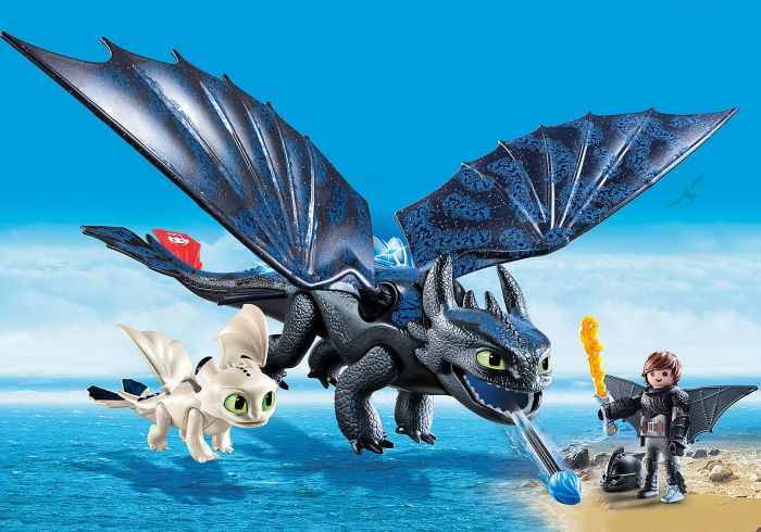 Hiccup, Toothless si pui de Dragon, Playmobil, 4 ani+