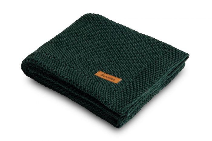Paturica tricotata Sensillo Grafit, din bumbac, 100X80 cm, Verde