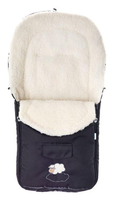 Sac de iarna Sensillo lana Black, 95x40 cm, 0 luni+