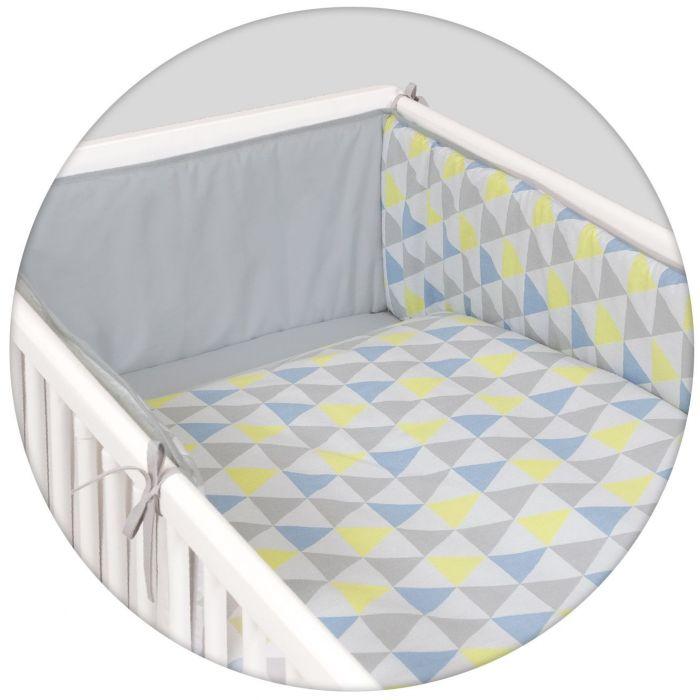 Protectii laterale cu lenjerie Ceba Baby Triunghiuri, Albastru/Galben