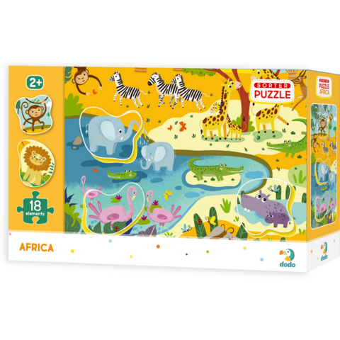 Puzzle Animale din Africa Dodo, 18 piese, 24 luni+