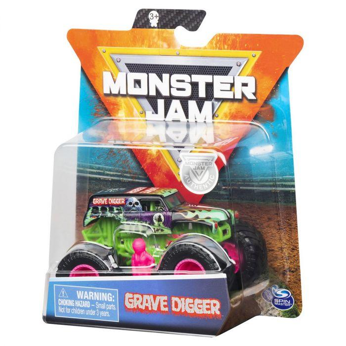 Vehicul metalic Monster Jam Grave Digger Spin Master, 1:64, 3 ani+
