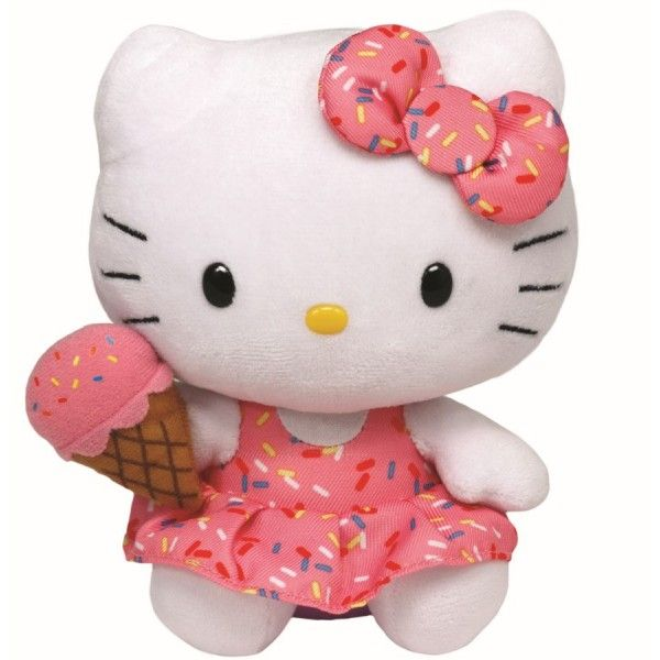 Plus Beanie Babies, Hello Kitty Cu Inghetata TY, 15 cm, 3 ani+