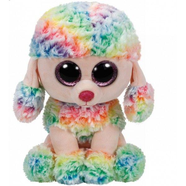 Plus Boos, Rainbow Pudel Multicolor TY, 24 cm, 3ani+