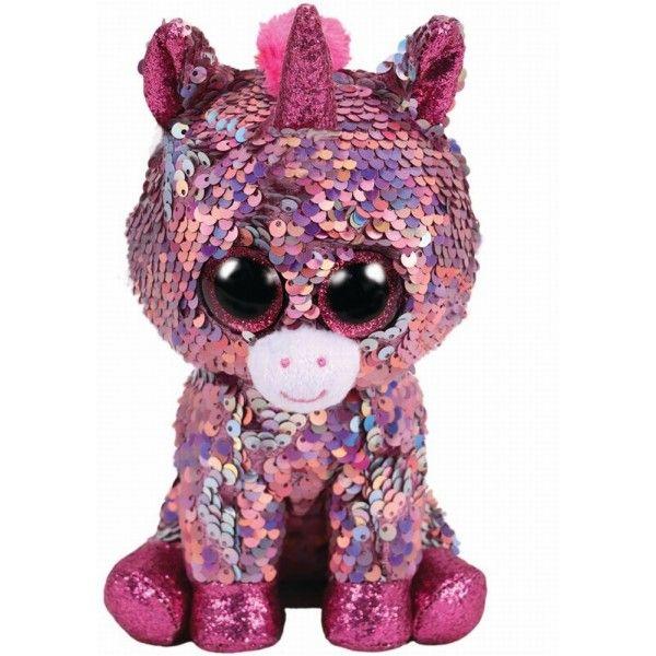 Plus Boos, Unicornul Roz Cu Paiete TY, 24 cm, 3 ani+
