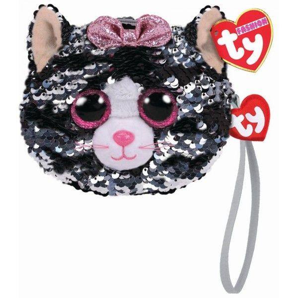 Gentuta De Mana Din Plus, Pisica Kiki Cu Paiete TY, 10 cm, 3 ani+