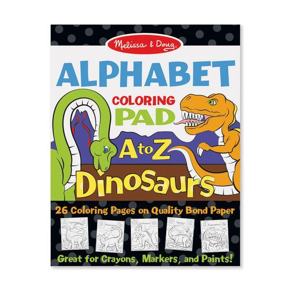 Bloc de desen Alfabetul dinozaurilor Melissa & Doug, 3 ani+