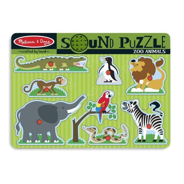 Puzzle lemn Animale de la Zoo Melissa & Doug, cu sunete, 24 luni+