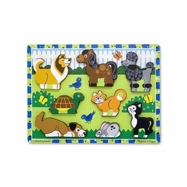 Puzzle in relief animale de companie Melissa & Doug, din lemn, 24 luni+