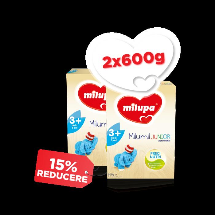 Pachet 2 x Lapte praf Milupa Milumil Junior 3+, 600 g, 3 an+