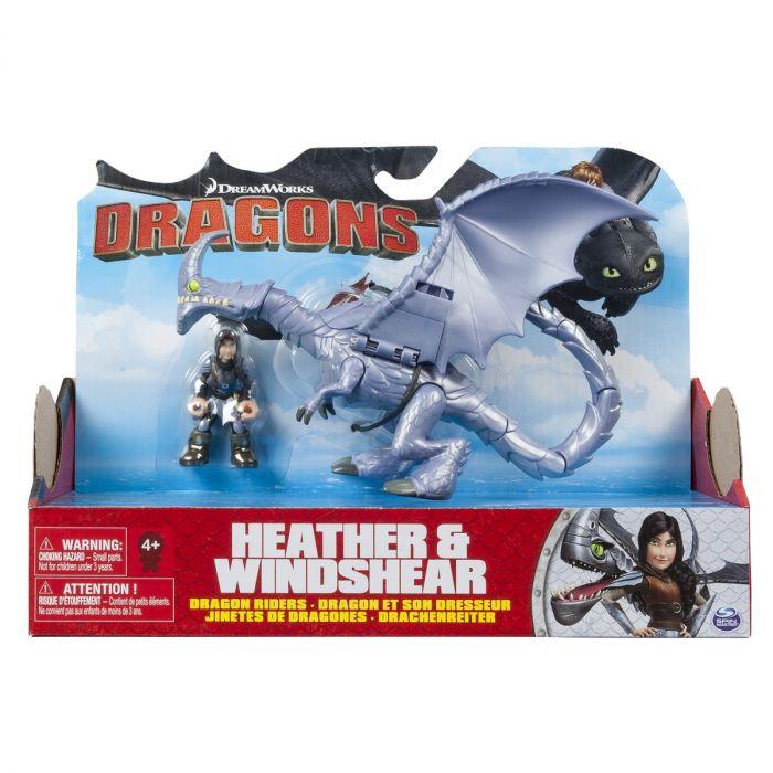 Figurina Dragon cu Calaret Heather si Windshear Spin Master, 4 ani+