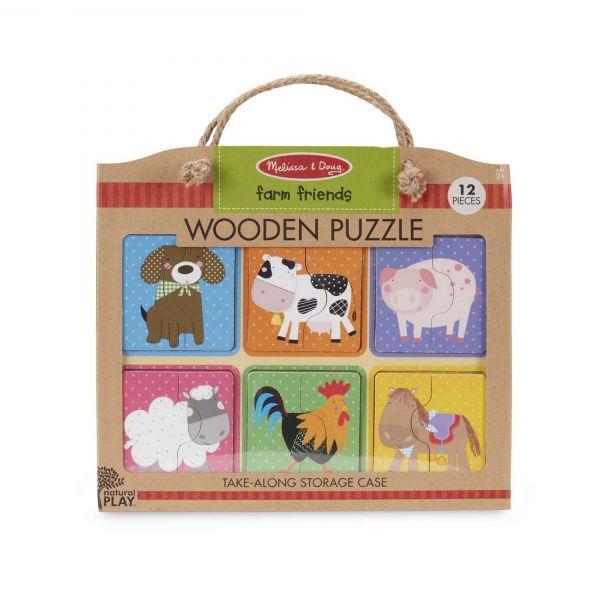 Primul meu puzzle eco Prieteni de la Ferma Melissa & Doug, din lemn, 24 luni+