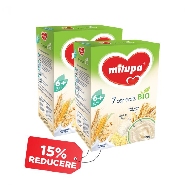 Pachet 2 x Cereale Milupa Bio 7 Cereale, 250 g, 6 luni+