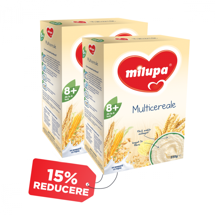 Pachet 2 x Cereale Milupa Multicereale fara lapte, 250 g, 8 luni+
