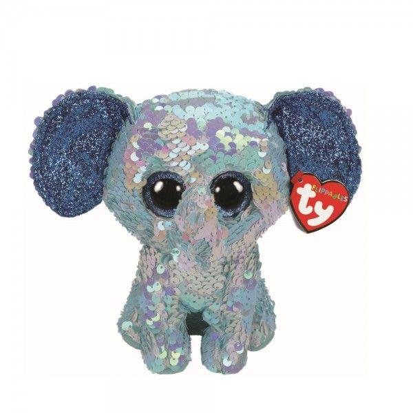 Plus Boos, Elefantul Stuart Cu Paiete TY, 15 cm, 3 ani+