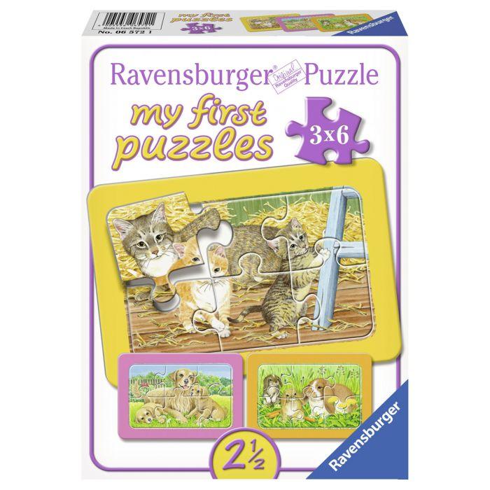 Primul meu puzzle cu animalute 3 x 6 piese Ravensburger