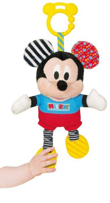 Jucarie carucior De Plus Mickey Mouse Clementoni, zornaitoare, 6 luni+