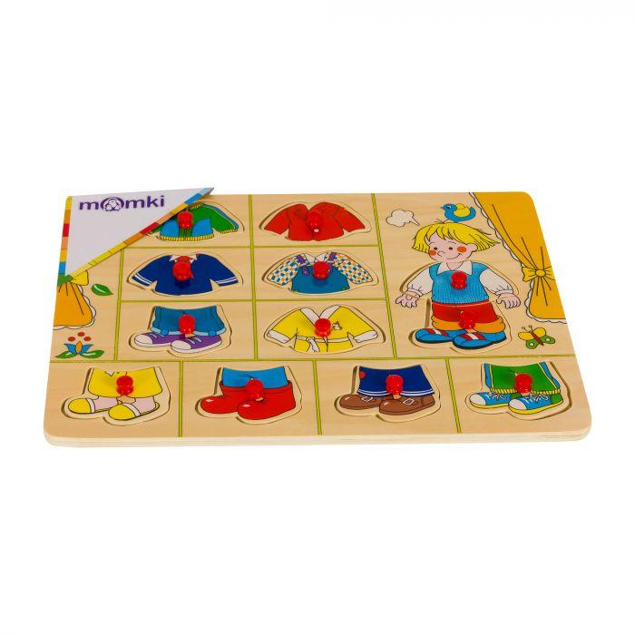 Puzzle din lemn cu tinte imbraca baietelul 11 piese Momki