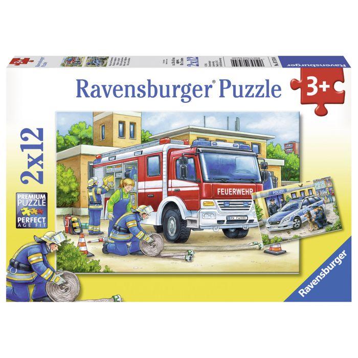 Puzzle politie si pompieri 2 x 12 piese Ravensburger