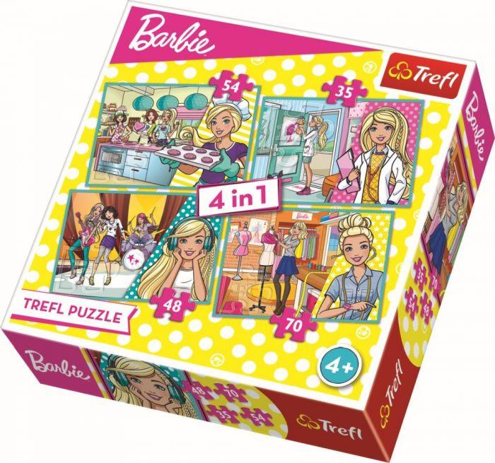 Puzzle 4 in 1 Barbie face cariera Trefl, 207 piese, 4 ani+